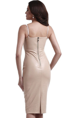 Seductive Nude Faux Leather Bodycon Dress