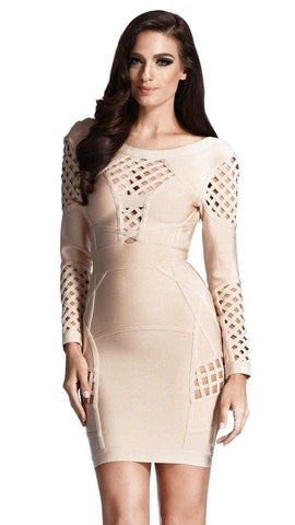 Cocoa Nude Long Sleeve Bandage Cut Out Cage Dress