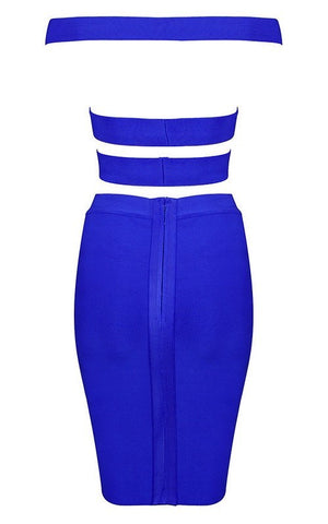 Strappy Blue Two Piece Bandage Dress (XS)