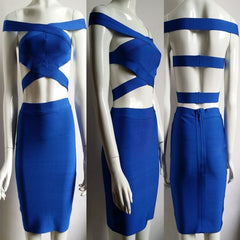 Sexy Blue Cut Out Bandage Dress