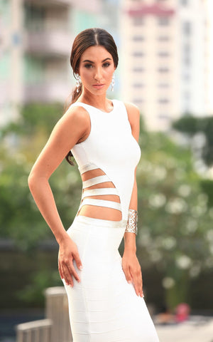 Sexy Cage Cut Out Maxi White Bandage Dress