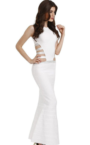Sexy Cage Cut Out Maxi White Bandage Dress (XS, S, M, L)