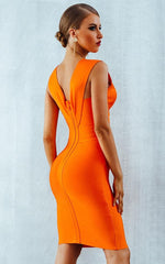 Sienna Bright Orange Bandage Dress (XS, S, M, L)