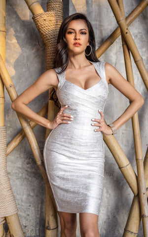 Silver Metallic Bandage Dress (All Sizes)