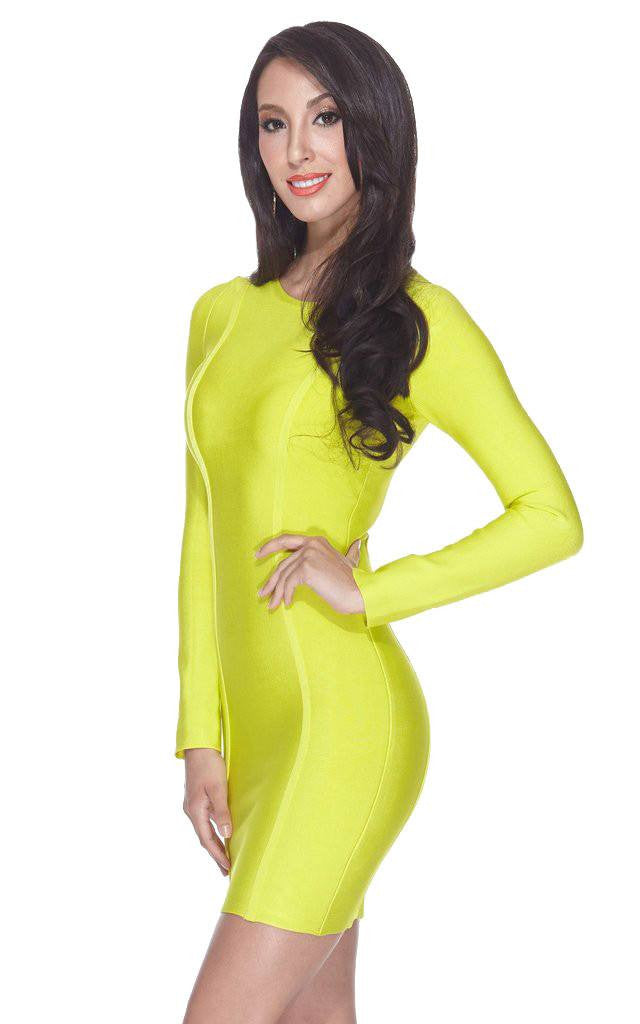 Neon Yellow Long Sleeve Bandage Dress | The Kewl Shop