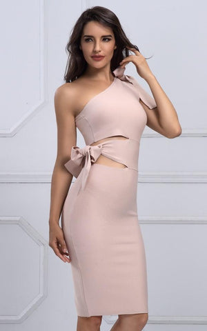 Sophia Nude One Shoulder Bandage Dress (XS, S, M, L )
