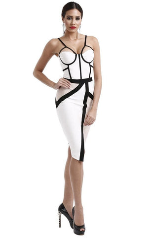 Sophisticated & Edgy Beige Two Tone Bandage Dress (L)