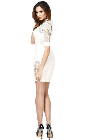 Spanish Chic Cut Out Side Cage Bandage Dress