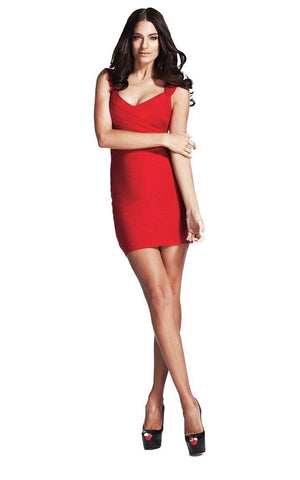 Straight Round Neck Bandage Dress