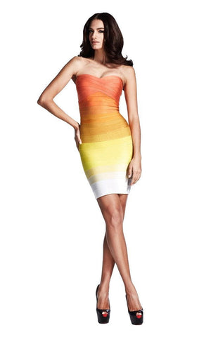 Strapless Yellow & Orange Ombre Bandage Dress
