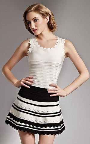 Black & White Flare Mini Bandage Dress