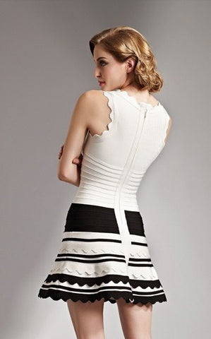 Striped Flared Bandage Dress