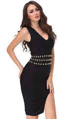 Studded Black Bandage Dress
