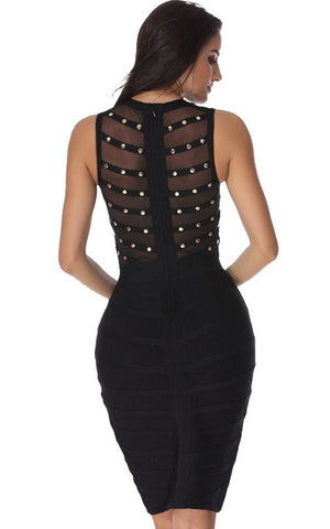 Studded & Sheer Mesh Bodice Bandage Dress