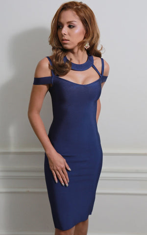 Stunning Navy Choker Bandage Dress