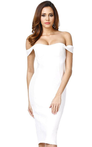 Bianca Off The Shoulder White Midi Bandage Dress (XS, S, M, L)