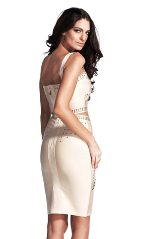Beige Studded Cocktail Two Piece Bandage Dress