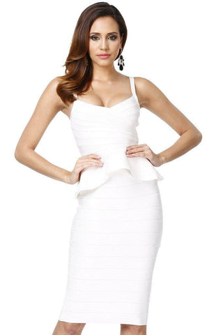 Two Piece White Bandage Bodycon Peplum Dress (MD)