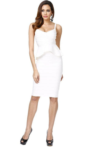 Two Piece White Bandage Bodycon Peplum Dress (XS, S, M, L)