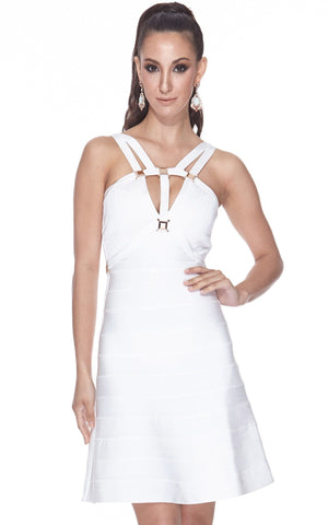 Short White A-Line Bandage Bodycon Dress