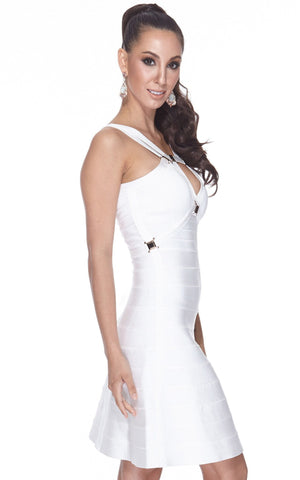 Short White A-Line Bandage Bodycon Dress (XS, L)