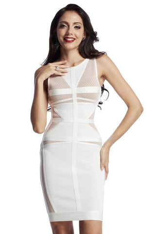 White Bandage Bodycon Mini Mesh Dress