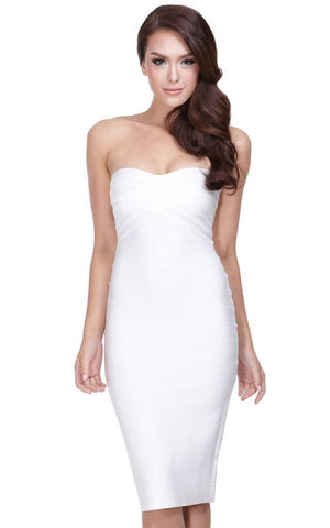 Penelope White Bandage Strapless Midi Dress (S)