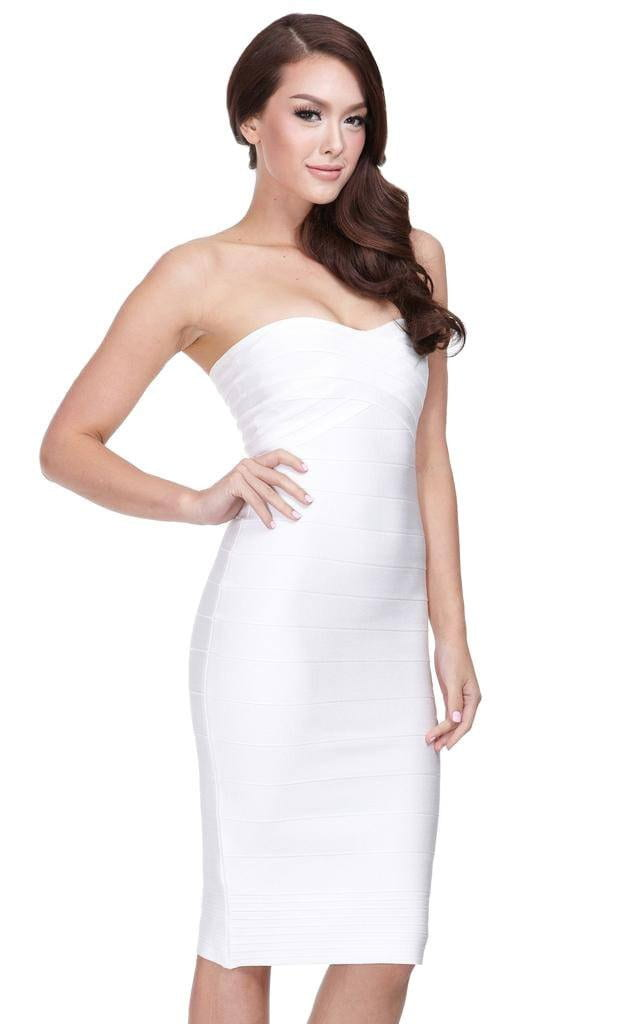 Penelope White Bandage Strapless Midi Dress | The Kewl Shop