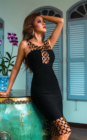 Black Bandage Cut Out Midi Cage Dress (All Sizes)
