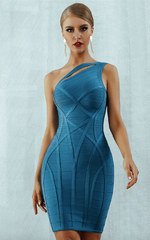 Azura Blue One-Shoulder Bandage Dress (XS, S, M, L)