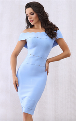 Baby Blue Scalloped Off Shoulder Bodycon Bandage Dress (XS, S, M, L)
