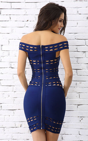 Mi Alma Blue Off Shoulder Bandage Dress (M)
