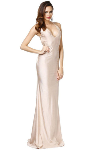 Beige Hourglass Long Dress Gown