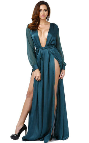 Sexy Deep Plunge Long Dress