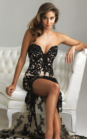 Sweetheart Black Lace Cocktail Dress (2)