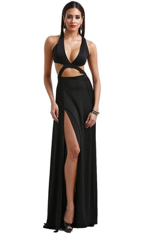 V-Neck High Waist Split Dress