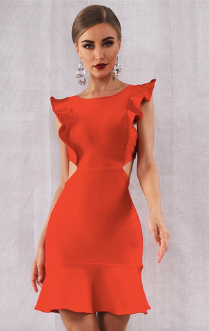 Ariel Red Flared Backless Bandage Dress (XS, S, M, L)