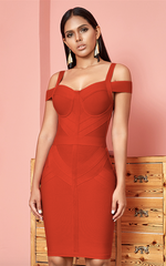Paloma Off-Shoulder Spaghetti Strap Bandage Dress ( XS, S, M, L )