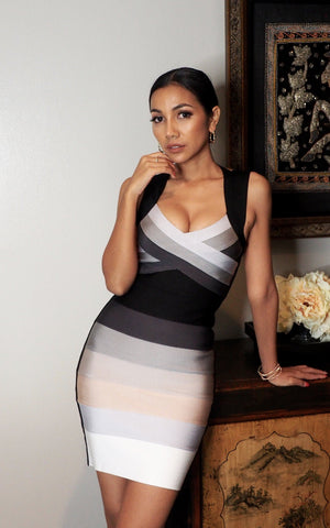 Shades Of Grey & Black Ombre Bandage Dress (All Sizes)