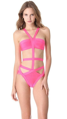 Sweet Halter Neck Bandage Swimsuit