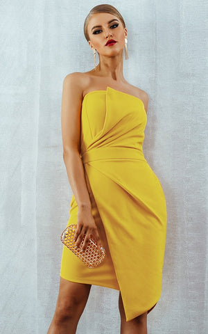 Summer Yellow Cocktail & Party Bodycon Dress