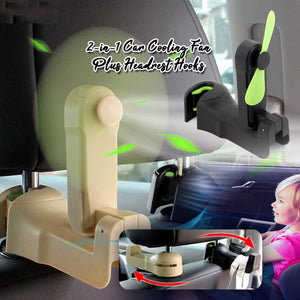 2-in-1 Car Cooling Fan Plus Headrest Hooks