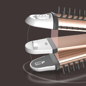 3-in-1 Folding Portable Straighten Curling Hair Wand Brush