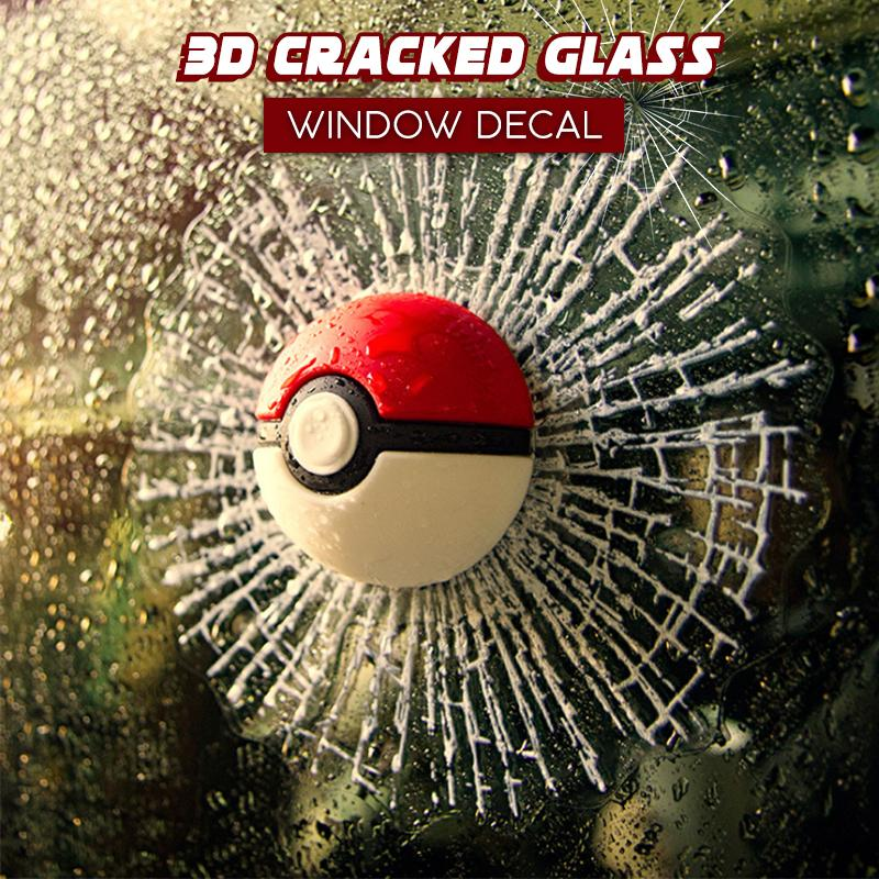 3D Cracked Glass Window Decal