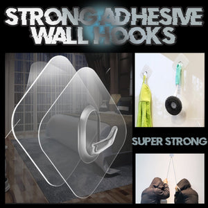 Reusable Strong Adhesive Wall Hooks - Set For 10