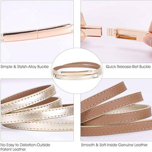 Non-Porous Women's Skinny Leather Belts