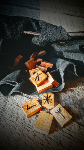 Handmade Younger Futhark Runes (Cherry Wood) - The Carnutian Workshop