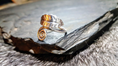 Handmade Pure Silver Cernunnos Leaf Ring -The Carnutian Workshop