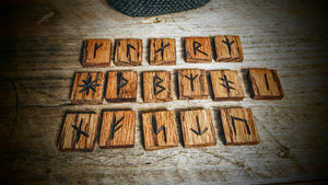 Handmade Younger Futhark Runes (Brown Oak) - The Carnutian Workshop