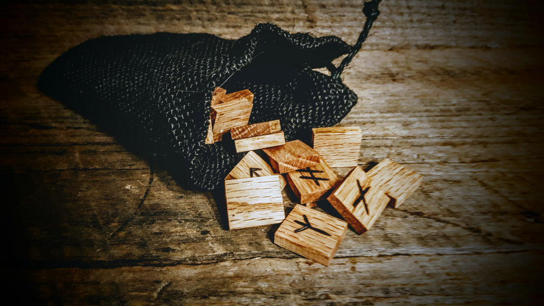 Handmade Younger Futhark Runes (Natural Oak) - The Carnutian Workshop